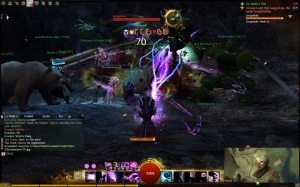 Guild Wars 2 fighting a champion mob