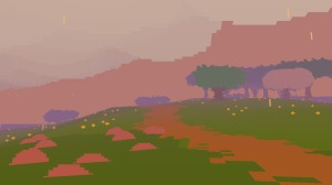 A picture of a pathway in the rain from Proteus.