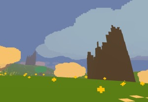 A picture of broken towers from Proteus.