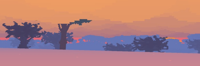 A picture of trees, mist, and snow from Proteus.