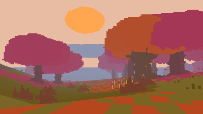 A picture of a sunset through the trees from Proteus.