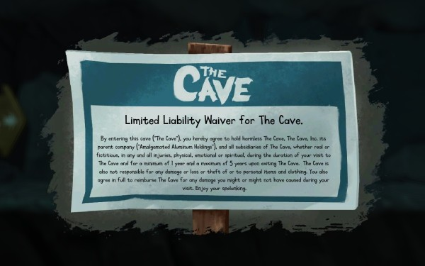 Entrance sign in The Cave