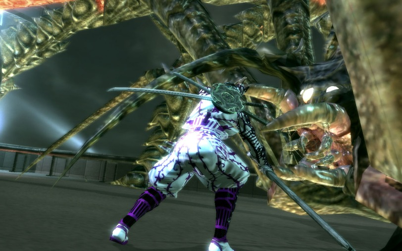 Fighting against a many-legged creature in Ninja Blade.