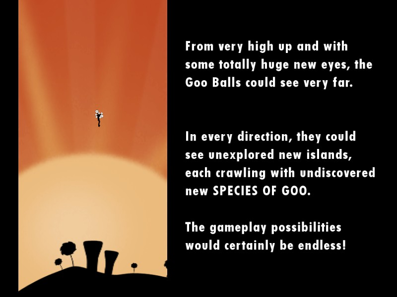 Exposition on gameplay possibilities in World of Goo.